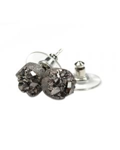 8mm Round Silver Druzy Ear Stud Rhodium Plated (1 Pair) (Was £4.25 Now £2.125) NETT