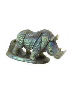 """Labradorite Rhino Carving with Base (3.5x1.5x2.5"""") (1 Piece) SPECIAL"""