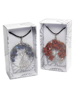 Wire Wrapped Tree of Life Gemchip Pendant on Cord Retail Box (16 Piece) NETT