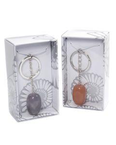 Assorted Tumbled Gemstone Keyring Retail Box (16pcs) (WAS £2 NOW £1)NETT