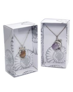 Gemstone Cabochon Body Animal Pendant on Chain Retail Box (16pcs)  (WAS £3.75 NOW £1.875)NETT