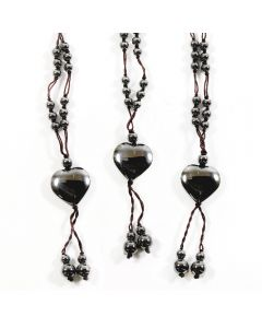 Hematite Cord Necklace w/Heart (3pcs)
